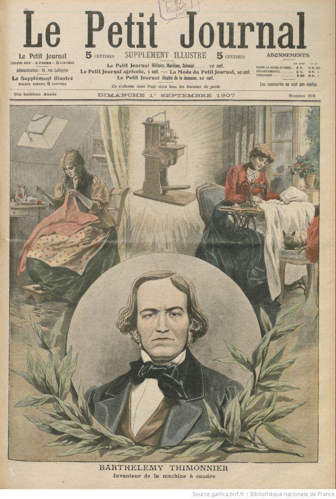 Le vrai inventeur de la machine à coudre: Barthélémy Thimonnier honoré par un article du Petit Journal